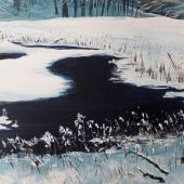 "AVAILABLE 36"" x 24"" - Sandgate Vermont: Green River in winter, acrylic landscape"