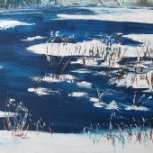 "AVAILABLE 16"" x 12"" - Sandgate Vermont: pond in winter, acrylic landscape"