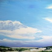 "AVAILABLE 36"" x 24"" - Seabright Beach in Santa-Cruz, California - acrylic landscape"