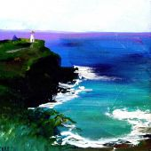 Sold to Private Collector - Kilauea Lighthouse, Kaua'i Hawai'i - acrylic landscape
