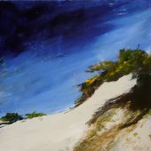 "AVAILABLE 14"" x 14"" - Stradbroke Island, Queensland Australia: Sand dune at Frenchman's Beach - acrylic landscape"