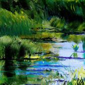 "AVAILABLE 10"" x 10"" - Mendocino California: Shallow pond - acrylic landscape"