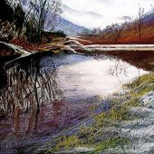Sold to Private Collector - Sandgate, Vermont: Pond in Fall - Pastel Landscape