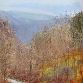 Arlington, Vermont: Fall on River Road - Pastel Landscape