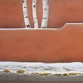 Santa Fe, New Mexico: Three aspen, winter, Canyon Road - Pastel Landscape