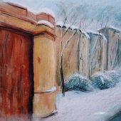 Sold to Private Collector - Santa Fe, New Mexico: Winter, Canyon Road - Pastel Landscape