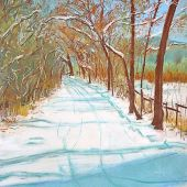 Sold to Private Collector - Santa Fe, New Mexico: Winter, Acequia Madre - Pastel Landscape