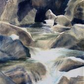 Sold to Private Collector - Yosemite, California: Yosemite Falls - Pastel Landscape