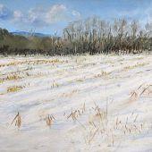 Manchester, Vermont: Winter field - Pastel Landscape
