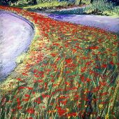Sold to Private Collector - Stanford University: Wildflowers, spring - Pastel Landscape