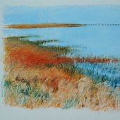 Artist's Private Collection - Palo Alto, California: Baylands - Pastel Landscape