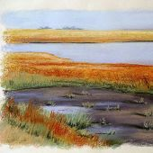 Sold to Private Collector - Palo Alto, California: Baylands - Pastel Landscape