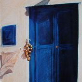 Sold to Private Collector - Chora, Mykonos, Greece: Blue door - Pastel Landscape